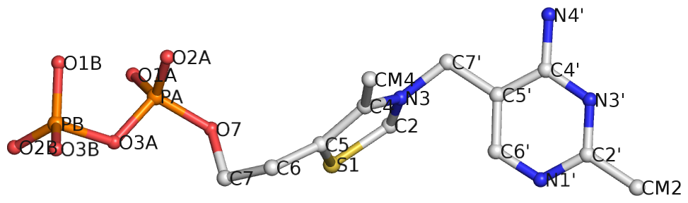 Ligand thiamine pyrophosphate in PDB entry 2gdi